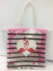 Bolsa Feminina Moda Praia Transparente Flamingo