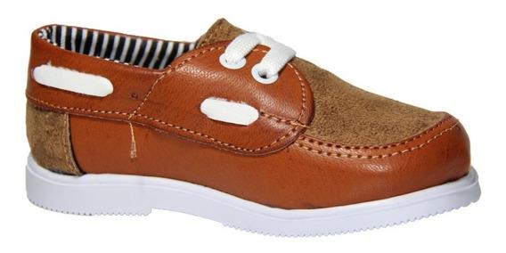 Zapato Nautico Infantil Mvd Marron / Gamuza