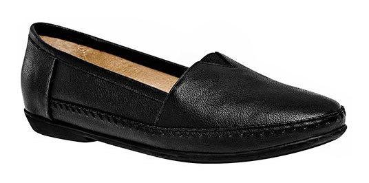 Zapato Piso Capricho Negro Piel Dama Cerrado D61707 Udt