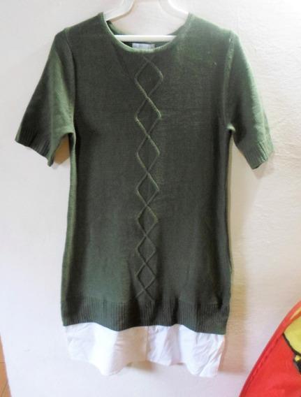 Vestido Verde Tipo Sueter Talla S 5v
