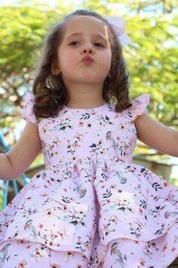 Vestido Infantil Tam:1 Ao 4 Pássaro Rosa Katitus 1406