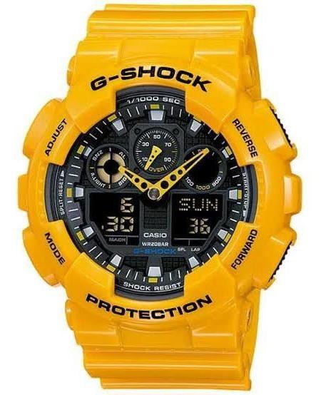 Relógio Casio G-shock Ga-100 Amarelo Analógico Digital Novo