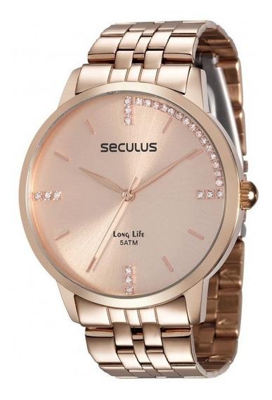 Relógio Seculus Feminino Analógico Rosé Garantia 2 Anos