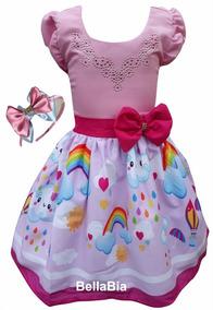 Vestido Chuva De Amor Bênção Rosa + Tiara Brinde