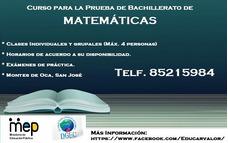 Curso Para Prueba De Bachillerato De Matemáticas.