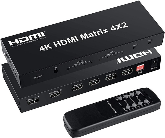 Matrix Hdmi 4x2 4k Full Hd C/áudio Óptico