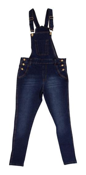 1 Macacão Jeans Jardineira Juvenil Feminina Com Lycra