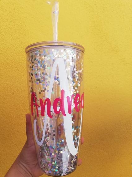 Vaso Agua Glitter Personalizado 850ml