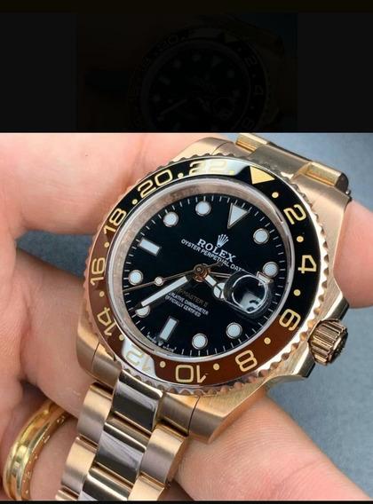 Rolex Gmt Master 2 Rose Gold Aro Em Cerâmica