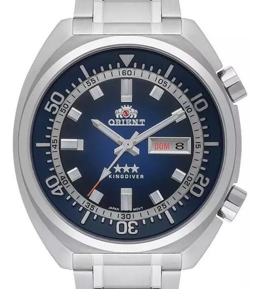 Relógio Orient Masculino Prata Automatico Fundo Azul