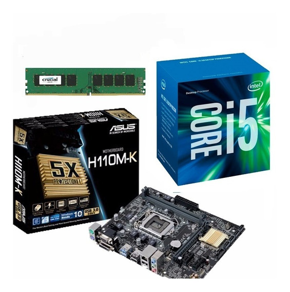 Kit Mb Asus H110m-k + Proc. I5 7400 + Mem 8gb - Na Caixa