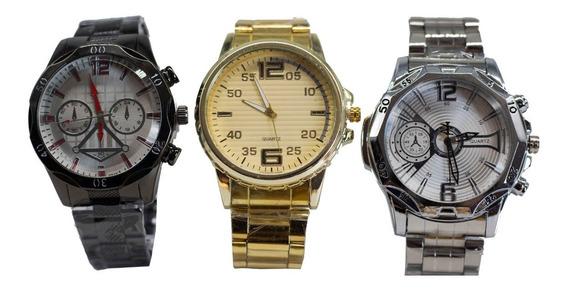 Kit C/ 10 Relógios Masculinos Aço Atacado Revenda + Caixas