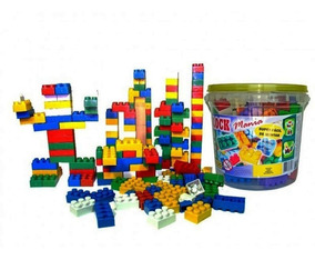 Balde Blocos De Montar 104 Peças Brinquedo Educativo Full