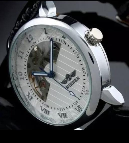 Relógio Masculino Automático Luxo Oferta Couro C.105