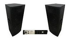 Kit 2 Caixas 2x12+ti Oversound + Machine 1600watts Rms 4vias