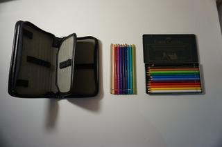Lápis Aquarelável Profissional 12 Cores+ 10 Avulsos + Estojo