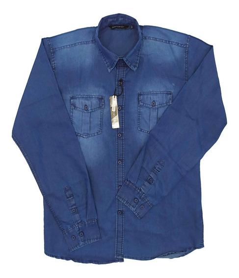 Camisa Casual Jeans Manga Longa, Giorgio Bianco 25122