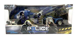 Playset Policias Figuras Articuladas Y Vehiculos Lny 99345