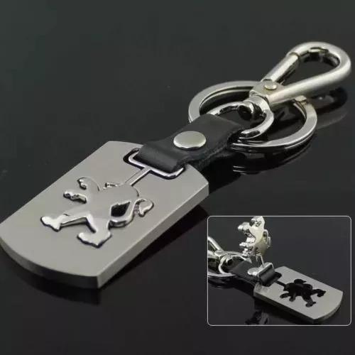 Chaveiro Peugeot Liga De Metal Prata E Couro Preto