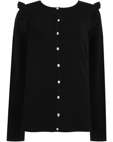 Cardigã Suéter Em Trico Babado No Ombro Seiki 710001