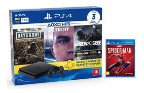 Console Playstation 4 Slim 1tb Hits Bundle + 4 Jogos - Ps4