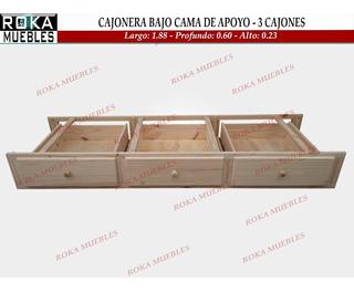 Cajonera Bajo Cama Carro Cajón 3 Cajones Apoyo Pino 60 Prof