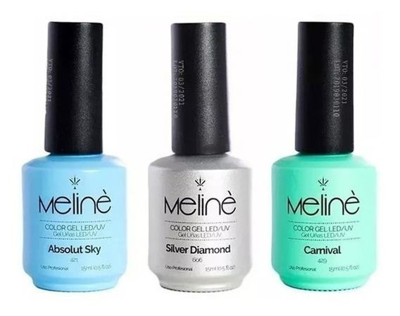 Esmaltes Semipermanente Meline X3 Gel Color Uv Uñas Manos