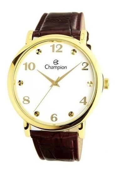 Relógio Champion Masculino Dourado Pulseira Couro Marrom