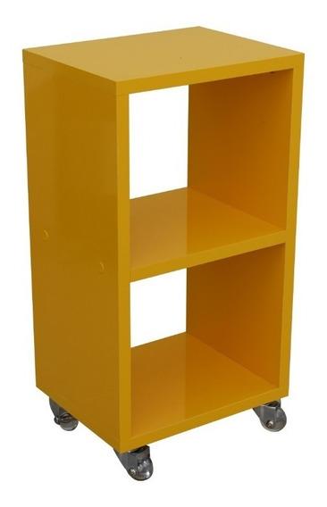 Criado Mudo 25x50x20cm Mdf Amarelo Com Rodízios Gel