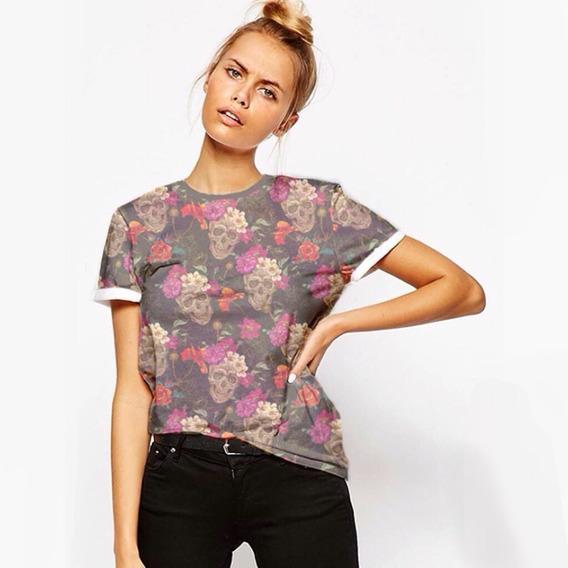 Camiseta Feminina, Caveira Floral, Cordel Store