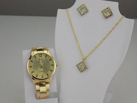 Kit Relógio+ Colar/brinco Feminino Dourado Original Strass