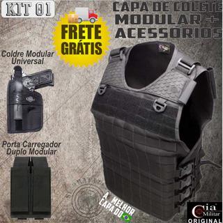Kit I Capa De Colete Modular Com 2 Acessórios Cia Militar.