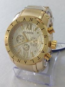 Relógio Masculino Dourado Original Atlantis Frete Grátis