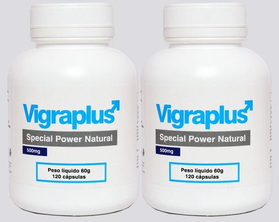 2 Vigraplus Aumento Peniano Natural Potência + Sêmen 240caps
