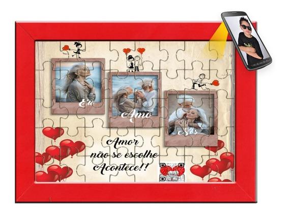 Quebra Cabeça Dia Namorados, Foto E Vídeo + Porta Retrato