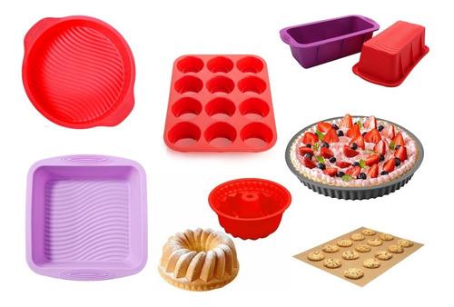 Imagen 1 de 8 de Set Kit Reposteria Completo Moldes De Silicona Horno Muffins
