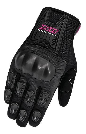 Luva X11 Blackout Feminina Rosa Motociclista Moto Touch Nf