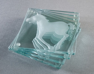 Portavasos Modernos De Cristal Caballo Set De 4