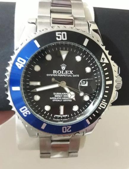 Relógio Masculino Submariner Prata Azul / Preto + 3 Baterias