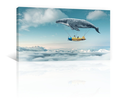 Imagen 1 de 10 de Cuadro Decorativo Niños Canvas Ballena Y Avioneta En Nubes