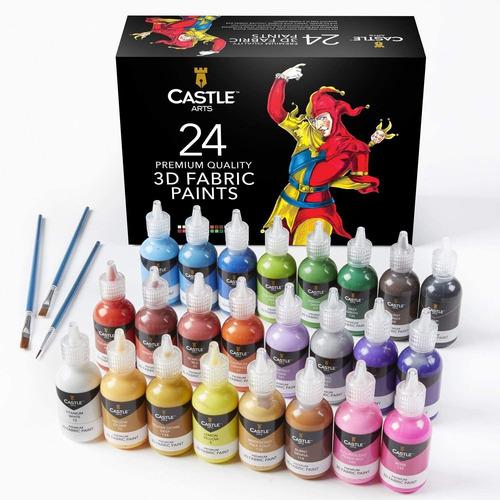 Castle Art Supplies - Juego De Pintura 3d Para Tela, 24