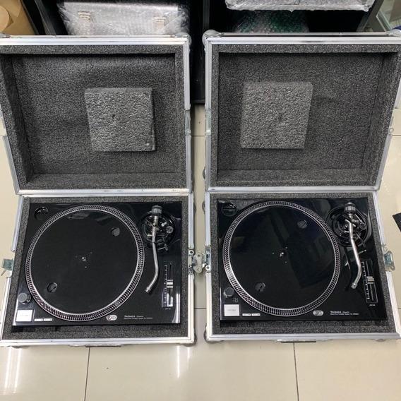 Toca Disco Technics Mk2 Preto - Preto Com 2 Cases Cromobol P