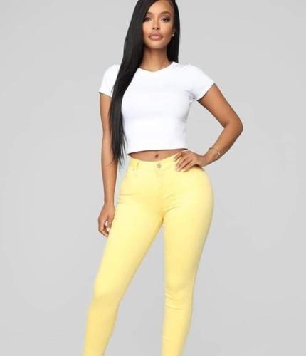Saldos Pantalon Jean Drill Stretch Ajustada Alto Mujer Dama Mercado Libre