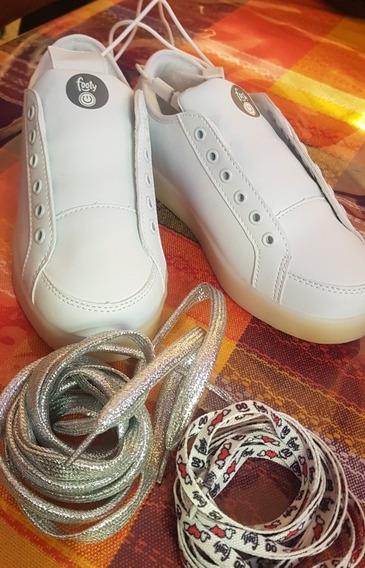 Zapatillas Footy Blancas Con Luces Led Numero 34