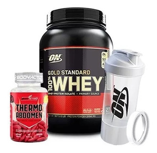 100% Whey Gold Standard + Multi Shaker - On + Thermo Abdomen