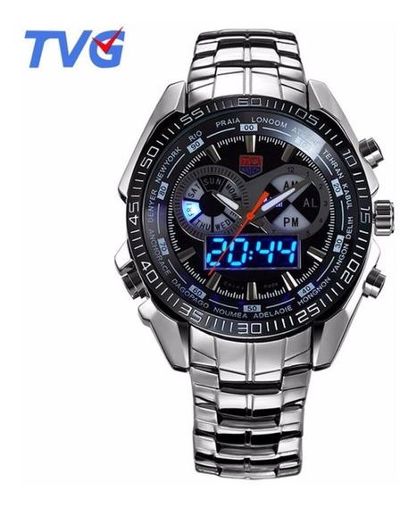 Relógio De Luxo Tvg Seals Elite Masculino Led Promoção