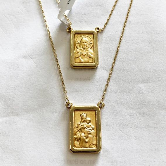 Escapulário Nsª Do Carmo / S. C.de Jesus Em Ouro 18k 2,2gr