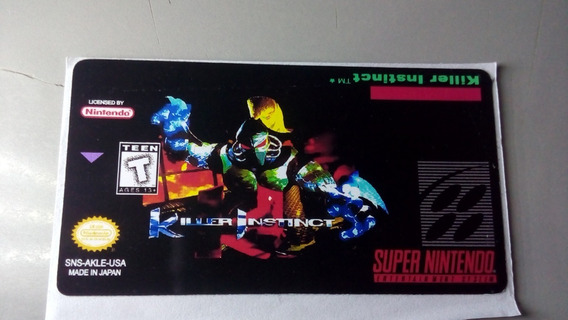 Label Killer Instinct Snes Super Nintendo