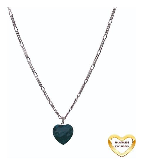 Colar Curto Pingente Coração Verde Prata