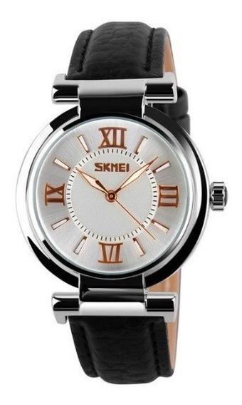 Relógio Feminino Skmei Original Pulseira De Couro Lindo